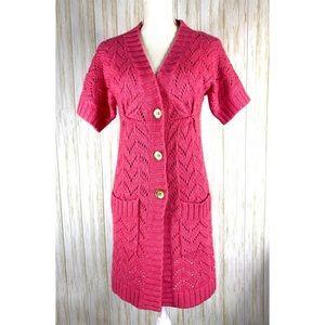 Beth Bowley pink cardigan sweater duster Petite